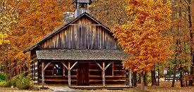 church cabin in the fall